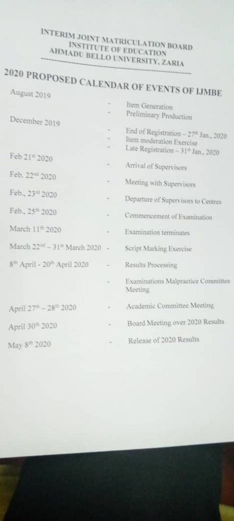 IJMB exam 2020 calendar and timetable for all IJMBE centres